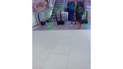 Lady suffers a fall while climbing an escalator [Swipe]