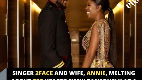 Singer 2Face and wife, Annie, melting about 327 hearts simultaneously at a nightclub yesterday