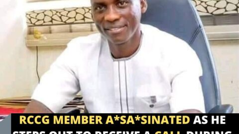 RCCG member a*sa*sinated as he steps out to receive a call during church service .