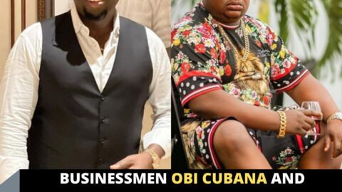 Businessmen Obi Cubana and Cubana Chief Priest react as lady tattoos their names on her back